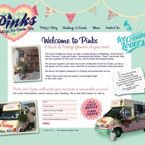 Pinks Website Design & Layout